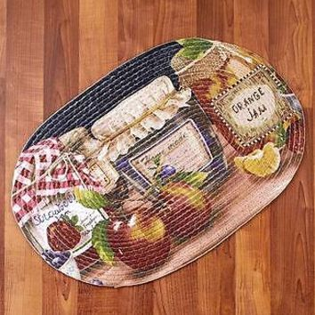 Mason Jar Themed Braided Kitchen Rug Fruit & Jam Pattern Country Home Decor