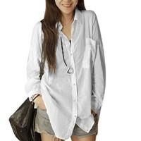 Women Button Up Long Sleeve Point Collar Shirt White S