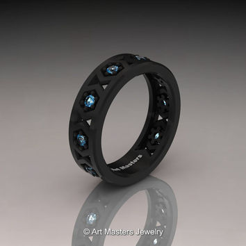 Womens Modern 14K Black Gold Blue Topaz Formal Wedding Band R535F-14KBGBT