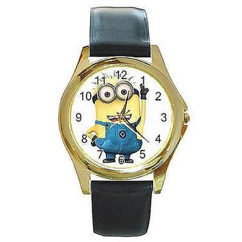 "Despicable Me ""Minion ""  on Gold Watch w/ Citizen Works & Leather Bands"