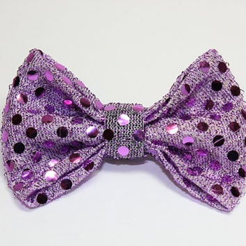 Medium Dog Bow Tie. Metallic Purple Dog Bowtie for Small Dog or Medium Dog. Sparkly Violet Polka Dots on Lavender Fabric with Velcro Loop