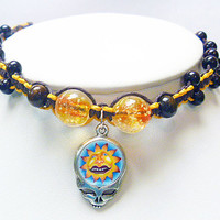 Steal Your Glow Sun Grateful Dead Stealie Hemp Anklet Glow in the Dark beads macrame handmade jewelry hippie