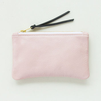 Small Pale Pink Leather Zipper Clutch, Zip Pouch, Zip Wallet, Small Cosmetic Pouch, Cell Phone Pouch, Everyday Clutch, Wedding Clutch