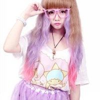 MapofBeauty Beautiful Mixed Colors Long Wave Cosplay Costume Wig