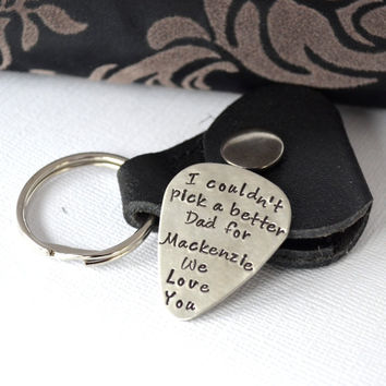 Personalized Guitar Pick Keychain with Leather Case- Gift for Dad- Handstamped Guitar Pick Nickel Silver