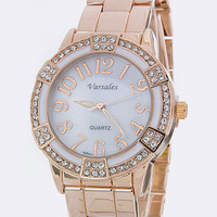 Rose Gold and Crystal Watch, White Bezel - Default