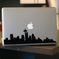 Seattle Skyline Decal, Vinyl Sticker for Car Window, Laptop - BLACK 12""