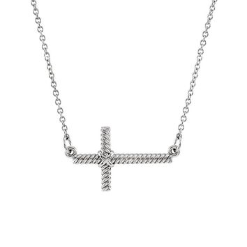 20mm Sideways Rope Cross Necklace in 14k White Gold, 16.5 Inch