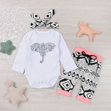 3 Pc Baby Girl's Long Sleeve Onesuit with Elephant Print and Pattern Design Pants and Headband