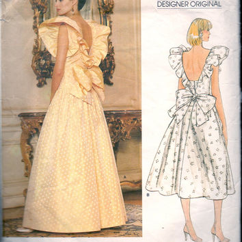 Retro Vogue 1980s Sewing Pattern Frilly Fitted Dress Gown Prom Bridesmaid Drop Waist Flared Skirt Sassoon Bust 31