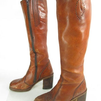 Womens Vintage Wild Pair Caramel Leather Knee High Chunky Heel Brogue Boot Fashion Made in Brazil Sz 7 B
