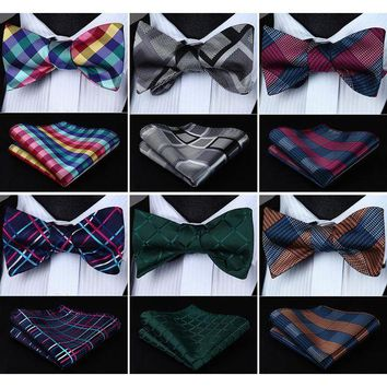 ONETOW Check Polka Dot Floral  Bowtie Men Silk Self Bow Tie Pocket Square Handkerchief Set