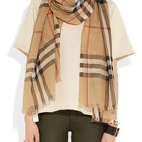 Burberry Shoes & Accessories|Checked wool and silk-blend scarf|NET-A-PORTER.COM