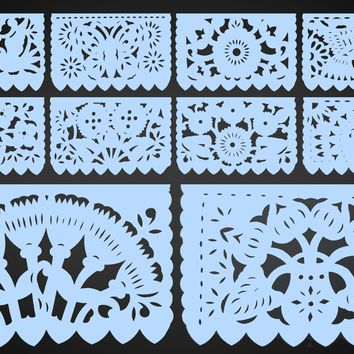 Papel Picado, Light Blue, Mexican banner, 12 feet Long, Fiesta decoration, SB9