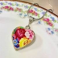 Vintage Chintz China, Broken China Jewelry Pendant Necklace, Pink China Necklace Sterling Silver,  Heart Valentine Gift for Wife