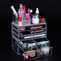 Cosmetic Beauty Makeup Organizer Jewelry Chest Bathroom Storage Case 3 Piece Set
