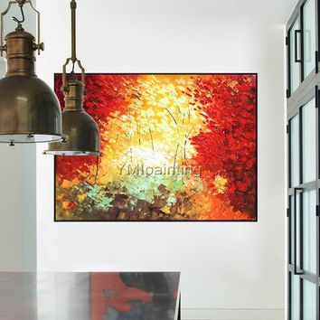 Abstract landscape oil painting acrylic painting on canvas heavy texture red color Knife Painting Wall Art Pictures for living room cuadros