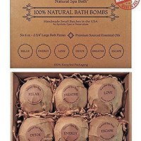Premium Bath Bombs Gift Set - USA Made 6 - 6oz. Extra Large Aromatherapy & Moisturizing Variety Blends with 100% Natural Essential Oils from Natural Spa Bath