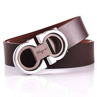 Royalours Mens Smooth Leather Belt 33mm Wide (34-36, Coffee Silver)