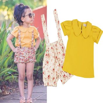 2016 Summer Girl's Set Children Clothes Peter Pan Collar Girls T shirt and Floral Suspender Trousers 2PCS Kids Set Girls Outfits