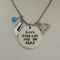"Cinderella movie inspired necklace ""Have courage and be kind"" Fairy Godmother hand stamped swarovski crystals charms Disney"