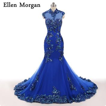 Blue High Neck Evening Dresses For Women Wear Vestido De Festa Celebrity Mermaid Lace Elegant Party Formal Gowns 2018