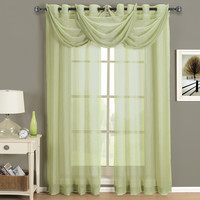Abri Spring Green Grommet Crushed Sheer Curtain Panel