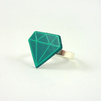 CD recycled adjustable ring : Turquoise blue and green stylized diamond - by Savousepate