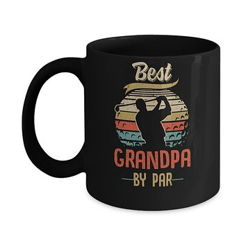 Vintage Best Grandpa By Par Fathers Day Funny Golf Gift Mug