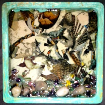 "Metaphysical Healing Crystal Infused Artwork! by: Vintique ""Feathers"" Crystal Wall Accent! ORIGINAL ARTWORK!"