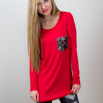 Sequin Pocket Perfection - Red Tunic