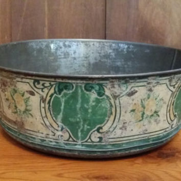 Vintage Galvanized Steel Bowl Planter With Decorative Painting Around Edge