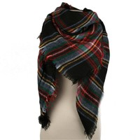 Poppy Plaid Blanket Scarf