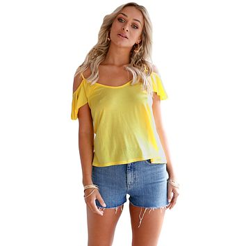 Yellow Crisscross Back Ruffle Cold Shoulder Top