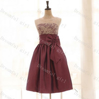 Burgundy taffeta with ivory lace cocktail dress ,short prom dress,Homecoming dress
