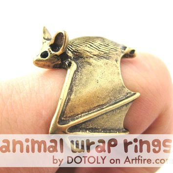 3D Bat Animal Wrap Adjustable Ring in Brass | Animal Jewelry