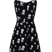 Women's Skull X Bones With Smocked - Black