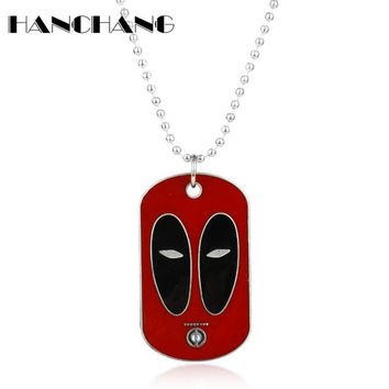 Deadpool Charms Pendant Necklace Beads Link Chain Dog Tag Necklace for Women men Fashion Jewelry Accessories Collier Neck Lace