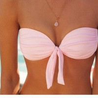 CUTE PINK KNOT TWO PIECE BIKINIS