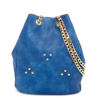 Stud Chain Strap Bucket Handbag