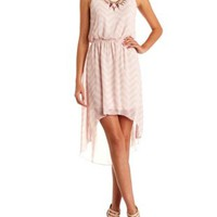 Bow-Back Chiffon High-Low Chevron Dress - Lt Pink Combo