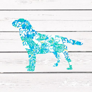 Lilly Pulitzer Labrador Retriever Vinyl Decal For Yeti Tumblers, Cars, and Tech Devices