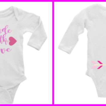 Made with Love Personalized Long or Short Sleeve Onesuit