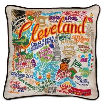 Cleveland Hand Embroidered Pillow