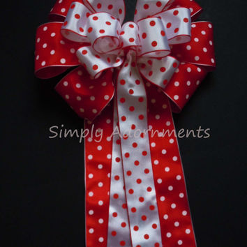 Red White Polka Dots Birthday Party Red White Wedding Pew Bow Polka Dots Theme Shower Party Decoration Bow Wreath Bow Gift Bow