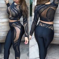 Black Mesh Long Sleeve Bodycon Cropped Top with Pants Set