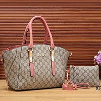 Gucci Women Fashion Leather Satchel Purse Shoulder Bag Handbag Crossbody Two Piece Set
