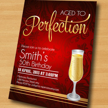Wine birthday invitation, Aged to Perfection, Champagne birthday Invitation cheers for any age gathering Party invitation Design - card 290