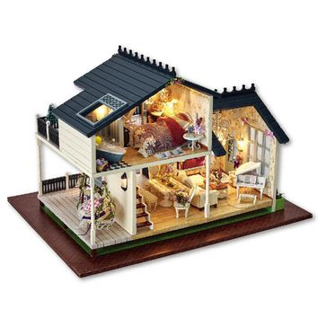 DIY assemble House PROVENCE Miniature Wooden Building Model Dollhouse Furniture Model Toys Christmas Brithday Gift