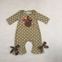 Thanksgiving Days  Infant Clothing Baby Girl Outfit Turkey Pattern Fall Jumpsuits Newborn Cotton Girl Clothing R035